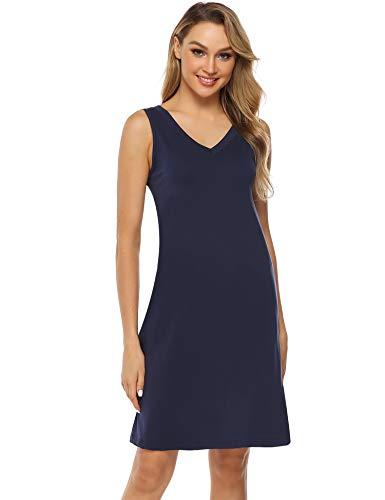 Hawiton Damen Nachthemd Kurz Sommerkleid Strandkleid A Linie Kleider Ärmlos Nachtwäsche Sleepshirt aus Baumwolle Dunkelblau S