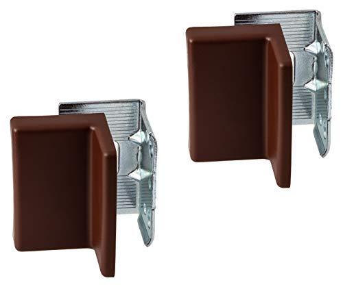 Gedotec Schrankaufhänger verstellbar Schrankhalter zum Schrauben | Abdeckkappe braun | Stahl verzinkt | Schrank-Aufhängung Tragkraft 150 kg | 2er Set - Befestigungen für Hängeschränke & Wand-Montage