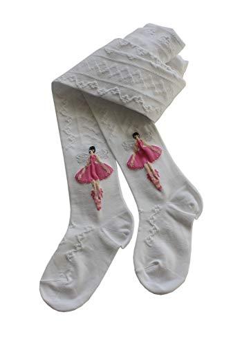 Filet Kinderstrumpfhosen Feines Motive mit einer Tanz fee und weichem Lurex: 7-8 Jahre, Größe: 122/128, Farbe: Weiß. Preis vom Hersteller.