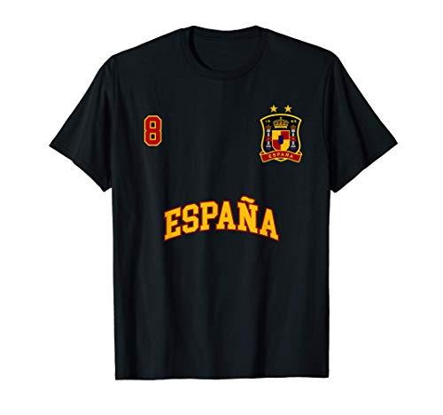 Equipo Deportivo Fútbol España No 8 Bandera Español Camiseta