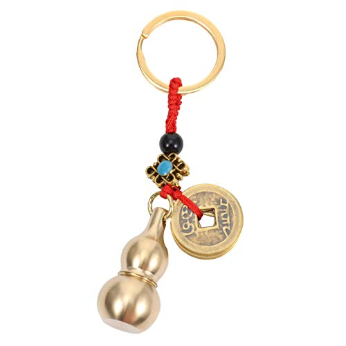 Winomo - Portachiavi con zucca in oro, con ciondolo in oro Feng Shui, per feste cinesi e souvenir
