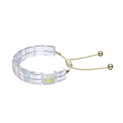 Swarovski Letra Armband, Stern, Weiss, Goldlegierung