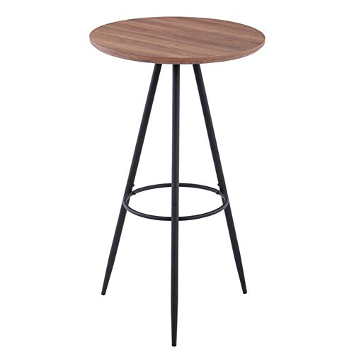 GOLDFAN Round Bar Table for 2 to 4 Modern High Bar Tables with Round Metal Frame for Home and Office, Diameter 60 x 100 cm (Wood Effect)