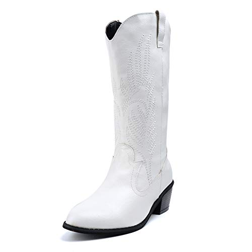 Cowboystiefel Damen Cowgirl Stiefel Hohe Frauen mit Absatz 5.3 cm PU Leder Mode Westernstiefel Elegant Winter Weiß 40