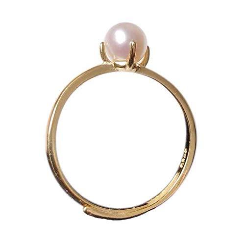 Haespsd 925 Anillo de Perlas de Plata esterlina Exquisita joyería Ligera decoración de Moda Anillo-A