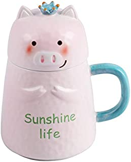 Nrpfell Three-Dimensional Relief Cute Cartoon Water Cup Pink Pig Ceramic Cup Large Capacity Coffee Mugs Best Present for Family