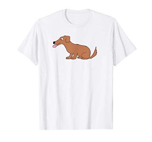 Cute Dog Smiling Simple Funny Cool Doggie Cartoon T-Shirt