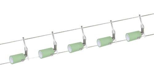 Preisvergleich Produktbild Halogen Seilsystem Seilset 5x20W G4 grün Glas 6m 105VA 51232 12V
