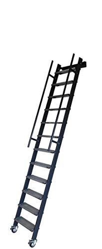Escalera alta de hierro con peldaños de hierro galvanizado y ruedas Mod. SSPFXL Accesorios - Manijas de desembarque verticales, altura alta - De 261 a 270 cm, Color - Negro