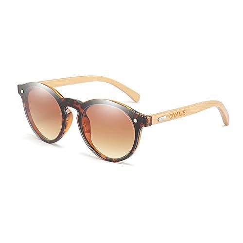 Shihuam houten zonnebril voor vrouwen ronde Uv400 spiegel lenzen bamboe zonnebril voor mannen