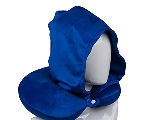 Kamaca Almohada cervical con capucha de felpa suave, botón de presión y capucha, uso universal, apoyo y práctico para viajes (azul marino con capucha)