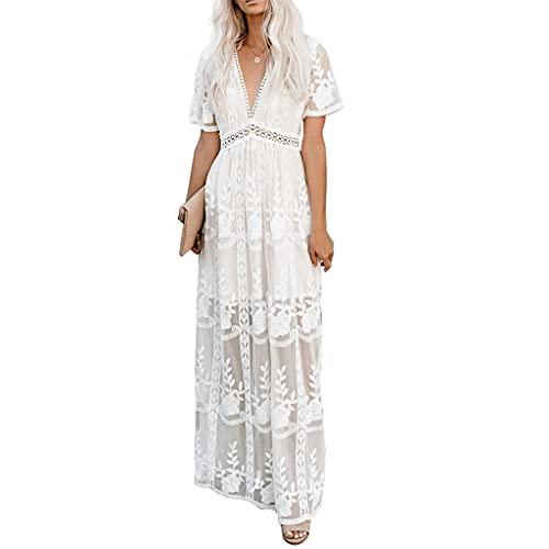 MAOSUO Vestido feminino longo bordado de crochê de renda elegante e bonito para usar no dia a dia