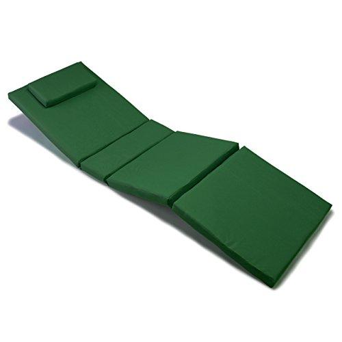 Nexos GL06023 Divero Liegen-Auflage Polster Kopfkissen für Sauna Garten Terrasse hochwertig dunkelgrün