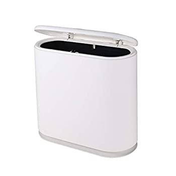 YCOCO 10 Liter Oval Double Barrel Kitchen Trash Can with Press Top Lid,2.4 Gallon Removable Liner Bucket Slim Plastic Garbage Bin for Kitchen,Office,Home,White