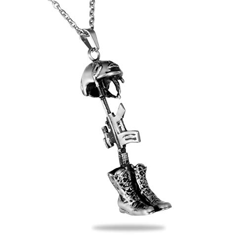Bullet American Flag Cremation Ashes Urn Necklace Memorial Pendant Stainless Steel Waterproof Jewelry (soldier)