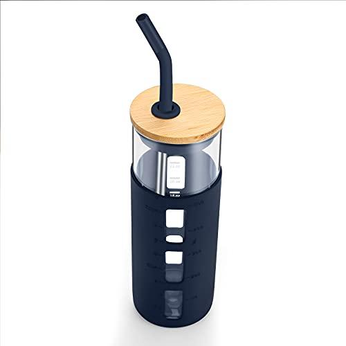 tronco 24oz Glass Tumbler Glass Water Bottle Straw Silicone Sleeve Bamboo Lid- BPA Free (Blue Horizon)