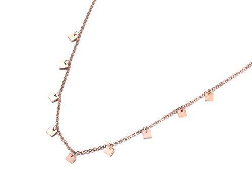 yrfchgj Collar Gargantilla De Acero Inoxidable con 9 Piezas Cuadradas Pequeñas, Collar De Color Oro Rosa, Joyería De Moda, Regalo
