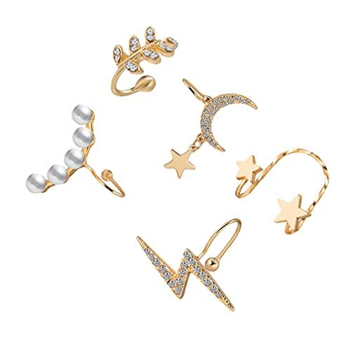 Holibanna 5 Piezas de Metal Clips de Oreja Perla Pendiente Decoración de Cristal Hojas de Oreja Pendiente Joyería Regalos para Cumpleaños de Aniversario Chicas Mujeres Damas de Oro