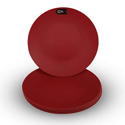 Coza Design- Durable Plastic Plate Set- BPA Free- Set of 6 (Bold Red)