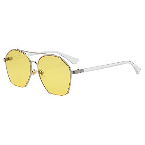 Sunyan Sonnenbrillen, Sonnenbrillen, Sonnenbrille, Brille, Brillen, Augen, Auge Sterne, rundes Gesicht, Gezeiten, alte koreanische Frauen, 6225, silbrig Gelb transdermale Tablet gerahmt