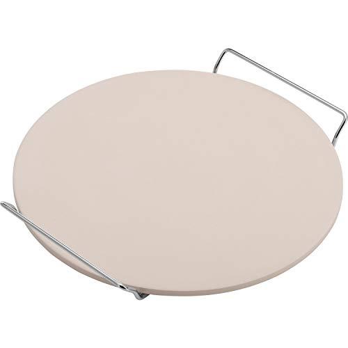 Westmark Piedra para pizza, Redonda, diámetro 33 cm, Con soporte, Cerámica, Beige/plata, 32402260
