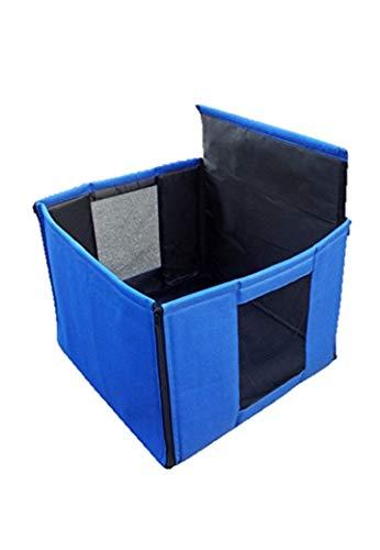 ペット ドライブボックス 犬 猫 ペットケージ (ソフト) キャリーバッグ シート カバー 小型犬用 折りたたみ コンパクト ブルー 軽量 アウトドア おでかけ 防水加工 固定ベルト付き