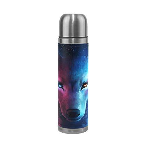 Linomo - Borraccia in acciaio INOX con viso di lupo con motivo galassia a doppio vuoto, isolante, a prova di perdite, per sport, viaggi, campeggio, ufficio, 481,9 g