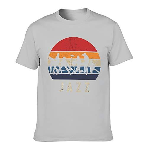 Jazz - Camiseta de algodón para hombre, diseño divertido Gris plateado. L