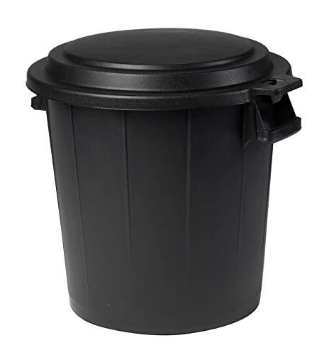 Ondis24 Universal Mülleimer, Abfalleimer 50 Liter, Garteneimer mit flachem Deckel, Abfalltonne mit Griffen, Mülltonne schwarz & rund, Müllbehälter für Garten