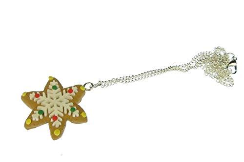 Miniblings Zimtstern Kette 45cm Weihnachten Plätzchen Schneeflocke Stern Keks Eisblume - Handmade Modeschmuck - Gliederkette versilbert