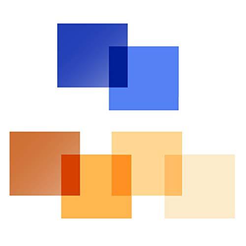 Selens 6pcs 40x50cm Gel de Color Filtro Luz Geles de Corrección Láminas Plástica de Película de Color Transparente para Foco de 800W Cabezal Rojo Fotografía Estudio Fotográfico Naranja y Azul