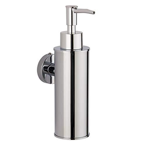 Bgl - Dispenser di sapone in acciaio inox 304 da parete per decorazione (rotondo, cromato)