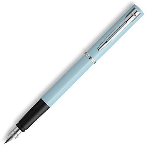 Waterman Allure pluma estilográfica, Lacado en color azul claro mate con adornos cromados, Plumín fino de acero inoxidable, Tinta azul, Con estuche de regalo