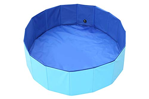 Foldable Pet Dog Swimming Pool, YXFT Portable Non-Slip Outdoor Dog Bath Tub with Drain, Folding Thick PVC Pet Swim Pool for Dogs, Cats, Kids (32 x 8 inch, Blue)