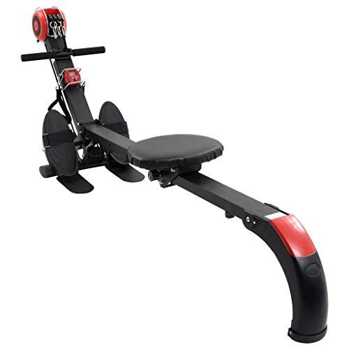 vidaXL Rudergerät Klappbar Verstellbarer Widerstand 3 Zugstränge 2-in-1-Funktion Rudermaschine Ruderzugmaschine Fitnessgerät Heimtrainer