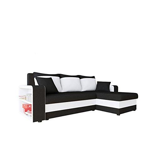 Mirjan24 Ecksofa Fano, Design Eckcouch Couch! mit Zwei Bettkasten, Schlaffunktion, Farbauswahl, Bettfunktion! Wohnlandschaft! L-Form Sofa! Seite Universal! vom Hersteller! (Alova 04 + Soft 017)