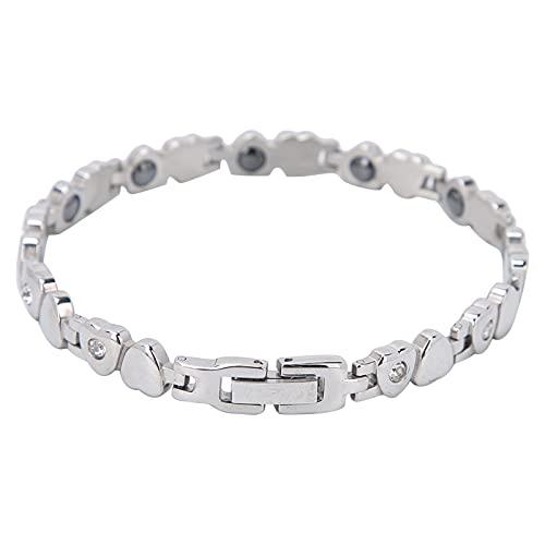 Pulsera magnética para mujer, pulsera de terapia magnética de acero de titanio, alivia el estrés y la ansiedad, mejora el sueño, elegante pulsera magnética de regalo (plata)