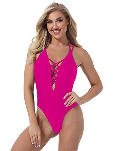 dPois Traje de Baño para Mujer Playa Ropa de Baño Espalda Descubierto Sexy Bañador Una Pieza Conjunto de Bikini Cruz Cuello en V Natación Mujer Rosa S