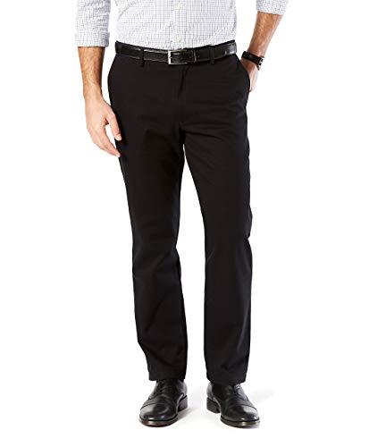 Dockers Men's Straight Fit Signature Khaki Lux Cotton Stretch Pants, Black, 36 30