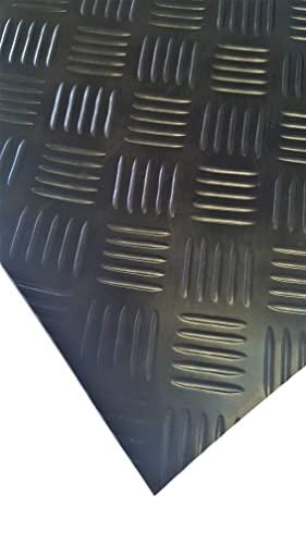 Tapis strié de 3 mm d'épaisseur et de 120 cm de large – Longueur au choix – Dimensions choisies: 200 cm x 120 cm x 3 mm - Tapis d'aspect tôle martelé pour atelier, sol, remorque, coffre, étagères