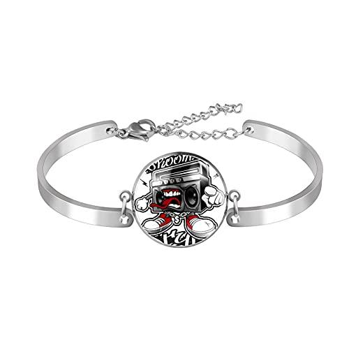 Edelstahl Armband Armreif Schmuck Geschenk Manschette Poliert Mode Geschenkbox Privatbestellung Stil Elegant Anime Radio. für Männer Frauen