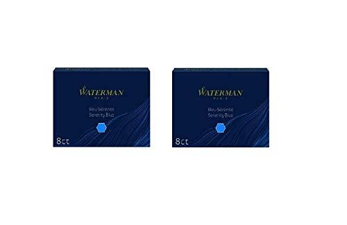 Waterman Fountain Pen Refills - Blue, 8 Cartridges (2-Pack)