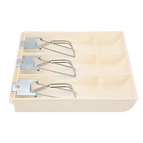 Esenlong Cajón de efectivo Registro Bandeja de Inserción Cajero Reemplazo Caja Tres con Clip de Metal (Blanco)