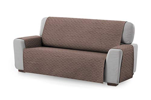 Textil-home Sesselschoner Sofaüberwurf Circus, 3 Sitzer - Reversibel gepolsterter Sofaschutz. Farbe Braun