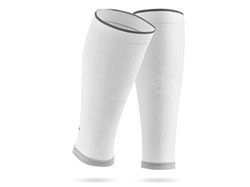 SPORTHACKS Sleeves - Schienbeinschonerhalter & Stutzenhalter mit Kompressionseffekt (Weiss Basic, IV | Wadenumfang 39-44cm)