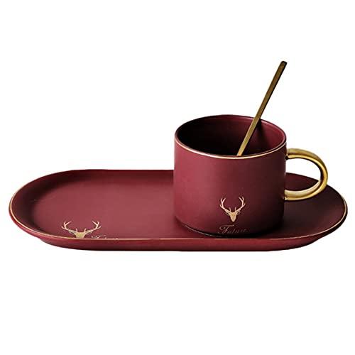 Vajilla de Porcelana Moderna de 3 Piezas Con Plato de Cena Rectangular, Taza y Cuchara, Vajilla de Cena de Diseño Moderno (Rojo)