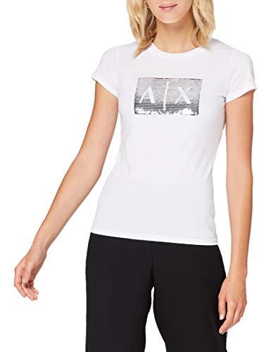 Armani Exchange Basic T-Shirt with Logo On Bust Camiseta, White Ground, XS para Mujer