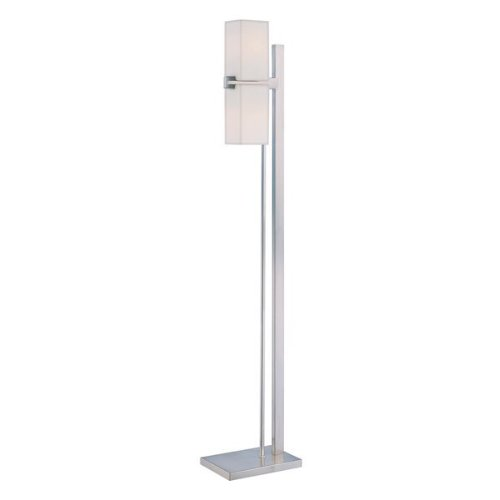 Lite Source LS-81468PS/FRO Raphael Floor Lamp, Polished Steel with Frosted Glass Shade -