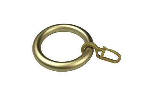 Gardinenringe/Vorhangringe mit Faltenhaken, Ringe für Gardinenstangen/Vorhangstangen - 10 Stück Kunststoff - Ø 39 x 55 mm - messing matt lackiert