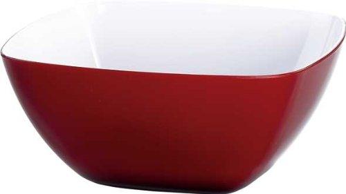 Emsa 505270 Eckige Schale für Desserts, Kunststoff, 2.0 Liter, 20 x 20 x 11 cm, Rot, Vienna